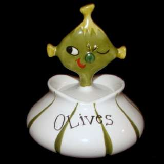 Vintage HOLT HOWARD PIXIEWARE OLIVES w Fork Pixie Anthro Condiment Jar