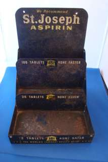ANTIQUE ST. JOSEPH ASPIRIN COUNTER 3 TIER METAL DISPLAY HOLDER