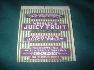 EARLY WRIGLEYS JUICY FRUIT GUM WRAPPERS WITH COUPONS