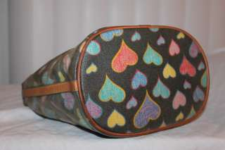DOONEY & BOURKE Hearts Hobo Tote Leather/Canvas Bag