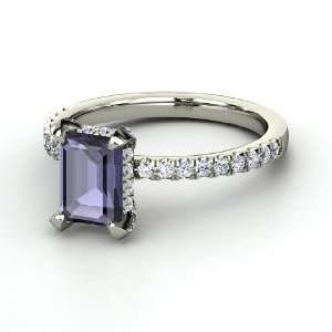 Reese Ring, Emerald Cut Iolite Sterling Silver Ring with