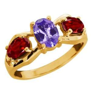 85 Ct Oval Blue Tanzanite and Garnet Gold Plated Sterling Silver