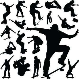 Skateboarders Skateboard Black Vinyl Wall Stickers Decals
