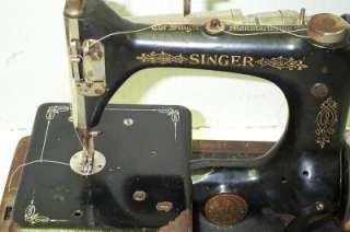 Antique 1923 Era Singer Model 24 Chain Stitch Sewing Machine with Bent