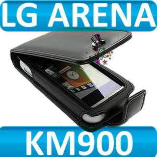 London Magic Store   BLACK FLIP LEATHER SKIN CASE COVER FOR LG ARENA