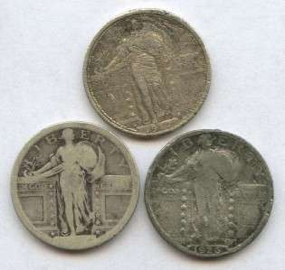 1917 S, 1926, No Date (3) Type I Standing Liberty 25¢ SILVER Quarter