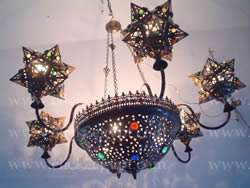 Large Antique Style Moroccan Art Style Six Arms Star Chandelier