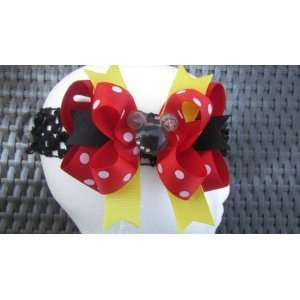 Minnie Mouse Yellow, Red Black Dot Hair Bow Beauty