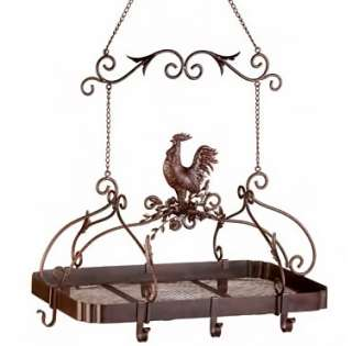 Country Cottage Kitchen Chic Rooster Hanging Pot Rack
