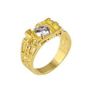 Solitaire Clear Cubic Zirconia Gold Tone Ring, Size 8 13 Jewelry