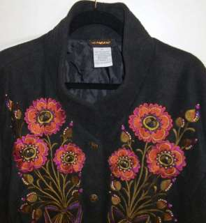 Bob Mackie WEARABLE ART Black FLEECE Embroidered Flowers JACKET 3X
