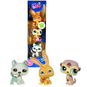Hasbro Year 2009 Littlest Pet Shop 3 Pack Bobble Head Pet