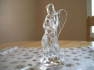 CRYSTAL NATIVITY ANGEL WITH HORN ~ TRUMPET FIGURINE MINT