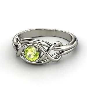 Infinity Knot Ring, Round Peridot Platinum Ring Jewelry