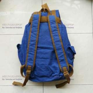 Blue Retro Canvas Rucksack Backpack Bag School Travel Hiking Large