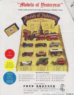 very rare Matchbox/Lesney/Bronner Dealer catalog 1959