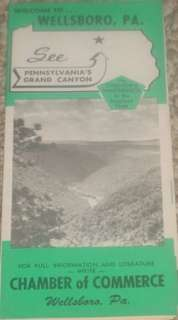 Wellsboro PA Grand Canyon Old Travel Brochure Map