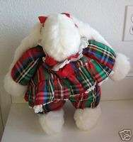 Vintage Christmas white Bunny plaid dress Best Friend