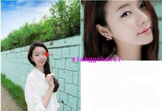Plated Clear Rhinestone Heart Love Letter Ear Stud Earring NEW