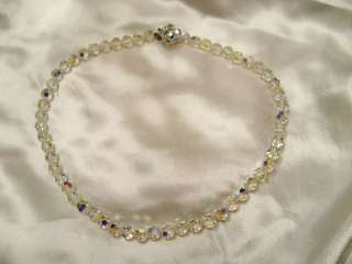 Aurora Borealis Glass BEADS flower clasp NECKLACE #49