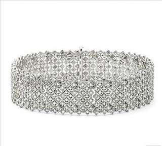 NIB 2 CTW Genuine White Diamond Link Bracelet .925 Silver Gift Box New