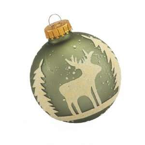 Kurt Adler 65mm Sage and White Deer and Tree Home Decor, 4
