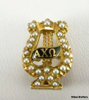 ALPHA CHI OMEGA   14k Gold sorority Pearled 1920s Badge PIN