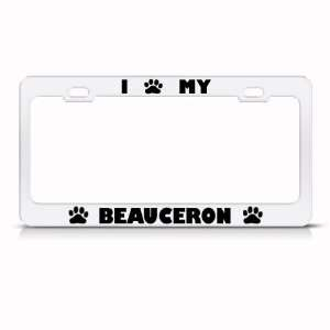 Beauceron Dog White Animal Metal license plate frame Tag Holder