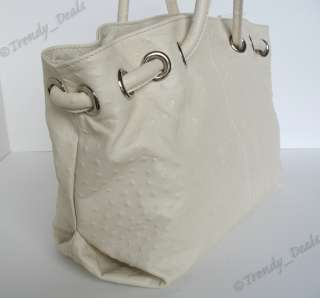 NWT FURLA Carmen Ostrich Embossed Leather Large Tote Hobo Bag Handbag