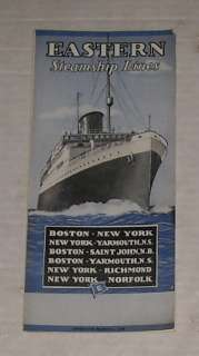 ANTIQUE March 1938 EASTERN STEAMSHIP LINES CRUISE SCHEDULES TRAVEL