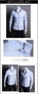 B07 62 Mens Shirts Dandy Casual Slim Fitted striped Long Sleeves