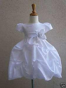 WHITE PO1 BABY FLOWER GIRL DRESS W/ SLEEVE +SASH COLOR