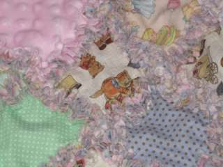 Paper Doll & Polka Dot Baby Girl Minkee Rag Quilt Boutique HM Quality