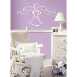 New GUARDIAN ANGEL PRAYER WALL DECALS White & Pink Baby Girls Nursery