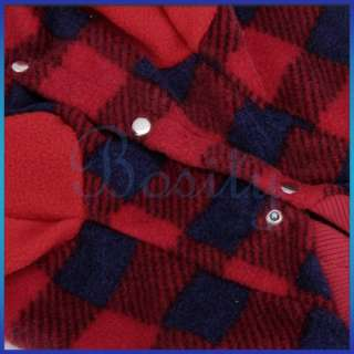 Checked Fleece Buttoned Coat Pet Dog Puppy Sports Clothes Apparel