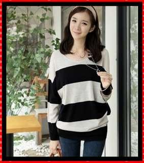 Womens Fashion Korean Loose Long Sleeve Stripes T Shirt Blouse