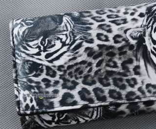 I505 Cool Black Tiger Leopard Print Lady Women Girl Long Wallet Purse