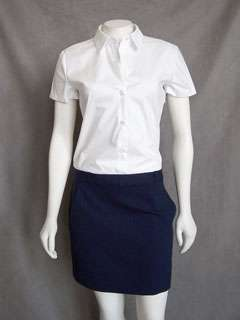 Theory Navy Blue White Namas Button Up Shirt Dress Work
