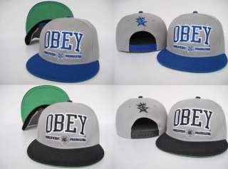 Hot New Obey Athletic Hip hop Bboys Snapback Cap Hat Gery/Blue Grey