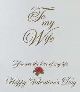 Carol Wilson Valentines Day Card, To My Wife, Red Roses, Love Of My
