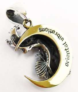 JAPANESE KOI CARP FISH GOLD MOON STERLING SILVER PENDANT NEW 925 JAPAN