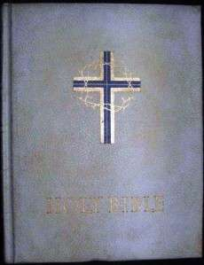 Large HOLY BIBLE 1960 GOOD COUNCIL, CHICAGO White Faux Leather