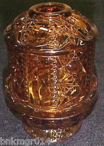 Indiana Glass Co Stars & Bars Amber Fairy Lamp