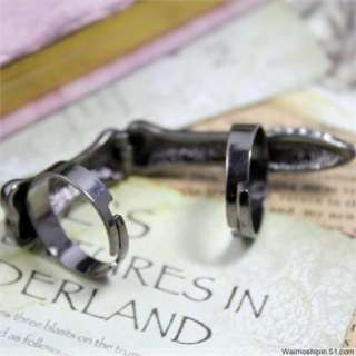 Hot sell Vintage Adjust Double Bendable punk Black claw Ring