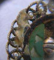 Estate Pin 14k Gold Hand Carved Chinese Jade Pin with Pearls