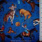 WRANGLERS RANCH Cowboy Hat Horse Saddle Lasso SSI BLUE Fabric 1/2 YD