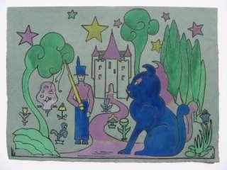 CHILDRENS FAIRY TALE ILLUSTRATION ART DECO ORIGINAL WC