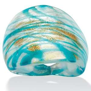 PalmBeach Jewelry Blue and Gold Colored Glass Ring Jewelry