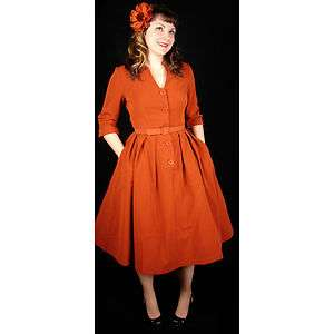 BRAND NEW BETTIE PAGE QUEEN RUST DRESS SIZE M 3X CLOSE OUT SALE