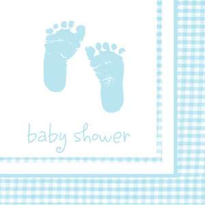 Shower Party PLAID, FOOTPRINTS BEVERAGE COCKTAIL PAPER NAPKINS